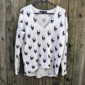 Skull Cashmere Gray and Black Cashmere Sweater